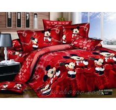 Red Mickey And Minnie Mouse King Size Duvet Cover Bedding