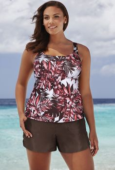 Tankinis with short sets are flattering yet flirty at Swimsuits For All. Swimsuits 2017, Modest Swimsuits, Plus Size Swimsuits, Cute Swimsuits, Plus Size Womens Clothing, Clothes For Women, Womens Tankini, Swimming Outfit, Girl Fashion