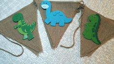Dinosaur T-Rex Jurassic themed wood shape cutouts burlap banner garland birthday party baby shower gender reveal 1st birthday nursery decor dino