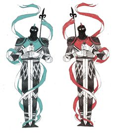 "Different styles of depicting knights and armor; banners ""awesome Tarmasz knight drawind for tattoo"""
