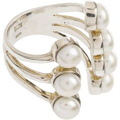 CORNEILIA WEBB Stacked 7 Pearl Ring ($300) ❤ liked on Polyvore featuring jewelry, rings, silver, pearl jewellery, pearl stacking ring, pearl ring, stackable rings and white pearl ring