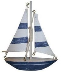 Brand New Small Seaside Nautical Blue & White Yacht / Sailboat 16cm Father's Day | eBay