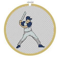 Free Baseball Player Cross Stitch Pattern