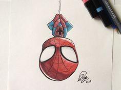 Chibi SpiderMan Marker - Chibi SpiderMan Marker by Stéphanie Forbes - . - Chibi SpiderMan Marker – Chibi SpiderMan Marker by Stéphanie Forbes – Marvel Drawings, Art Drawings Sketches, Disney Drawings, Cartoon Drawings, Easy Drawings, Sketch Art, Tattoo Sketches, Drawing Cartoon Characters, Chibi Spiderman
