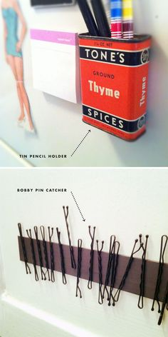 magnetic pencil holder for the fridge (or anywhere in my apartment, since 80% of the surfaces are magically magnetic!)