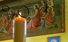 Obraz z kościoła w Warszawicach z czerskim krajobrazem w tle