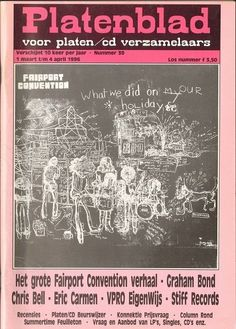PLATENBLAD 39 Eric Carmen  FAIRPORT CONVENTION Chris Bell BIG STAR  Graham Bond