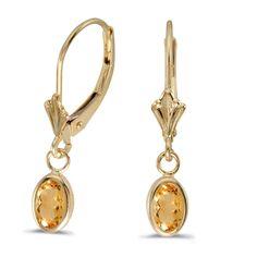 14K Yellow Gold Oval Citrine Bezel Lever-back Earrings (7/8ct tgw)