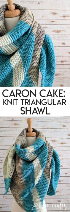 Caron Cake Knit Triangle Shawl & Just Be Crafty The post Caron Cake Knit Triangle Shawl & Just Be Crafty appeared first on Best Knitting Pattern. Caron Cakes Patterns Knit, Knitting Patterns Free, Knit Patterns, Free Pattern, Knitting Tutorials, Knitting Projects, Stitch Patterns, Knitted Shawls, Crochet Shawl