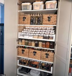 Woman converts an IKEA wardrobe into a VERY well organised pantry | Daily Mail Online Kitchen Organization Pantry, Kitchen Storage, Ikea Pantry Storage, Ikea Kitchen Pantry, Ikea Hack Kids, Ikea Hacks, Ikea Pax Wardrobe, Sliding Wardrobe, Bedroom Wardrobe