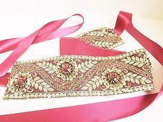 Sash Wedding Prom Embroidered Belt Cummerbund maroon floral Party handmade $16.25
