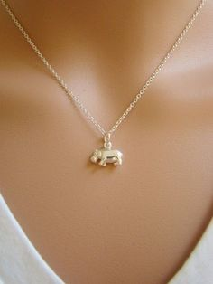 Hippo collier  Hippo charme 925 Sterling par ShinyLittleBlessings