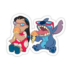 Pegatinas «lilo y puntada comiendo helado» de ManthaPoli   Redbubble Stickers Cool, Red Bubble Stickers, Meme Stickers, Tumblr Stickers, Phone Stickers, Printable Stickers, Lilo And Stich, Disney Stich, Homemade Stickers