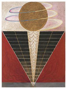 Hilma af Klint Grupp X , No. 2. Altarbild , 1915 Oil and metal leaf on canvas 238 × 179 cm . © Foundation Hilma af Klint