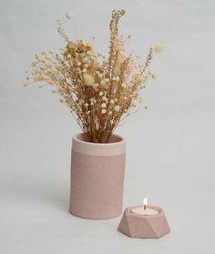 Blush Pink Stone Geometric Jesmonite Tealight Holders  Jesmonite Natur – And so to Shop Succulent Pots, Succulents, Flower Vases, Flower Pots, Mini Plants, Pink Stone, New Home Gifts, Tea Light Holder, Dried Flowers