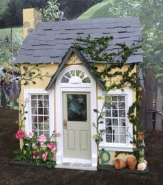 """miniature dollhouse 'Bea's Bees Cottage' 1"""" scale Incl. coord. bk 'Storybook Cottage Adventures' Flower Gardening Rabbit Tea american girl"""