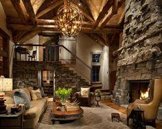 La cheminée occupe une place essentielle dans un séjour à la décoration rustique