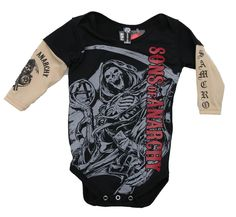 Sons of Anarchy Red Logo Reaper Tattoo Sleeves Baby One-piece Bodysuit #SonsofAnarchy
