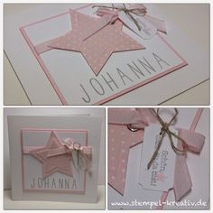 de - Create creative cards: A star in soft pink . Stampin Up Karten, Stampin Up Cards, Decoration Chic, New Baby Cards, Marianne Design, Stamping Up, Creative Cards, Cool Cards, Kids Cards