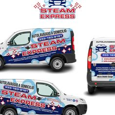 Mobile Steam Carwash Van graphics for STEAM EXPRESS by kikodesigns