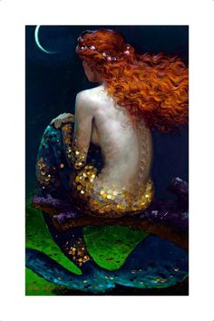 Victor Nizovtsev 1965 Russian mermaid under moon Fantasy art for sale at Toperfect gallery. Buy the Victor Nizovtsev 1965 Russian mermaid under moon Fantasy oil painting in Factory Price. All Paintings are Satisfaction Guaranteed Fantasy Kunst, Fantasy Art, Fantasy Forest, Sirens, Mythical Creatures, Sea Creatures, Fantasy Creatures, Victor Nizovtsev, Witches