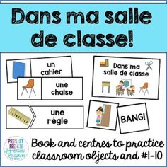 Dans ma salle de classe - Mini book and centres - Numbers and classroom objects Includes: - 20 word wall cards - bang! game cards - 20 matching vocabulary cards (centre) - teacher book to read - 19 pages - black and white basic template - for How To Speak French, How To Speak Spanish, Learn French, Learn Spanish, French Flashcards, Spanish Teaching Resources, French Resources, Centre, Spanish Basics