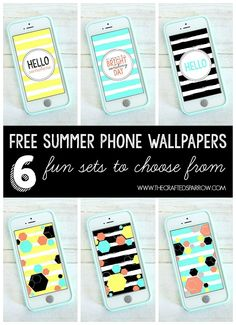 Free Summer Phone Wallpapers!  6 fun sets to choose from. thecraftedsparrow.com