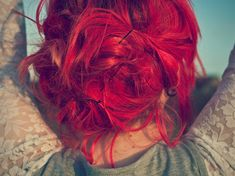 Dye my hair red, but just for a little while. I like my hair color as is. Bright Red Hair, Bright Hair Colors, Red Hair Color, Color Red, Colorful Hair, Bright Pink, Dye My Hair, Pinned Up, Favim