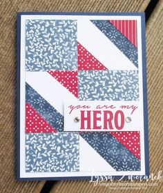 Learn how to make this patriotic quilt card in my latest DIY card making tutorial! #cards #diycards #cardmaking