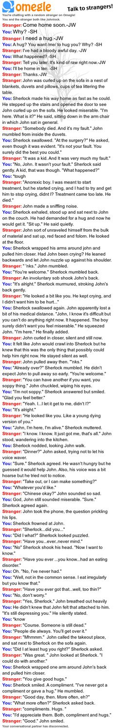 Oh my god. So many Johnlock feels...this is so cute<3