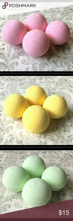 Handmade Bath Bombs Mix and Match scents! This listing is for FIVE luxurious bath bombs!   Our bath bombs are perfect for adults and children. They are all made from natural ingredients, hand mixed and molded. *These are handmade by my best friend and I, not Lush brand!* Size: 2.7 oz each (weight may vary), perfect for the average tub up to garden tubs!   Our scents include eucalyptus spearmint, lavender mint, lemon pound cake, Savanah Sunrise (peach, magnolia and raspberry), Pearberry…
