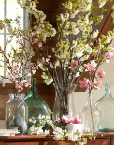 Shop Pottery Barn's collection of artificial plants and faux flower arrangements. Add the finishing touch with silk flowers that will be in bloom all year round. Flower Table Decorations, Table Flowers, White Cherry Blossom, Cherry Blossoms, Pottery Barn Inspired, Spring Blossom, Vintage Pottery, Spring Flowers, Dried Flowers