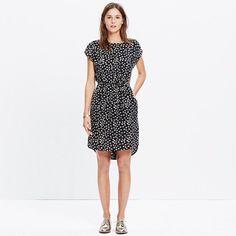 """A silk short-sleeve dress with a shirttail hem and cinched waist for an extra-flattering fit. Bonus points for the supercute floral print. <ul><li>Waisted.</li><li>Falls 36 7/8"""" from shoulder.</li><li>Silk.</li><li>Dry clean.</li><li>Import.</li></ul>"""