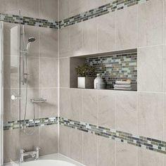 Details: Photo features Castle Rock 10 x 14 wall tile with Glass Horizons Arctic Blend 3/4 x Random mosaic as a decorative accent.