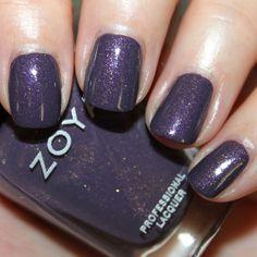 "zoya ""neeka"" - ""deep slightly muted royal purple with heavy gold irregular shaped shimmer"""