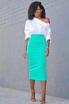 Deconstructed Off Shoulder Shirt + Ribbed Pencil Skirt