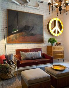 I could see this room as one of my favorite places in the house. Love the Groovy peace sign!