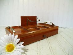 Vintage Large Wood Jewelry Box With Pull Out Drawer - Retro Men's Dresser Valet…
