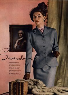 Swansdown spring/summer 1949 ad featuring an elegant skirt suit.