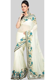Light Cream Faux Georgette Saree With Blouse Online Shopping: SJN2499