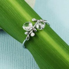 green amethyst bracelet | Silver Green Amethyst White CZ Floral Ring | tooriginal - Jewelry on ...
