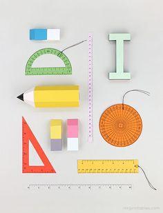 Adorable back-to-school free printables - 3D school supplies!