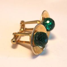 Vintage green crystal cufflinks. Goldtone by chicvintageboutique, $15.00