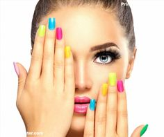 Beauty Girl Face with Colorful Nail polish. Colourful Studio Shot of young Woman. Vivid Colors. Colo poster #poster, #printmeposter, #mousepad, #tshirt
