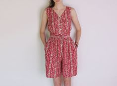 90's jumpsuit folk print ethnic pattern red by WoodhouseStudios