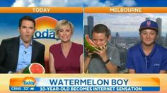 Update 08:45 AEDT, January 3: #watermelonboy, aka 10-year-old Mitchell Schebeci, appeared on The Today Show on Sunday morning, still eating. Basically, he did it for the LOLs.