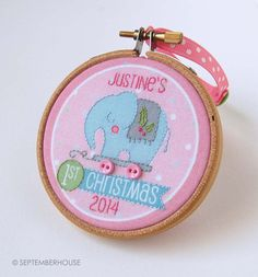Personalized Baby's First Christmas Ornament by SeptemberHouse. 3 inch round.