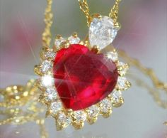 Sparkling 3ct Created Ruby & Diamond Heart Pendant + Necklace