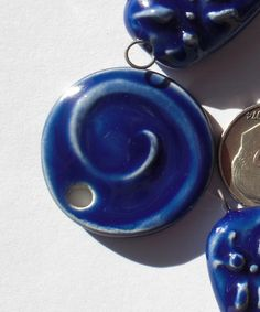 Cobalt Blue Round Earthenware Swirl Pendant by Clayworksnh on Etsy, $5.95