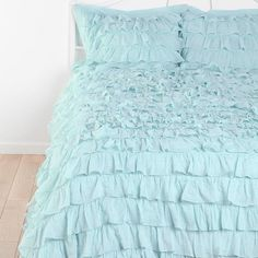 ruffled bedspreads and comforters | Light Blue Waterfall Ruffle Bedding Set